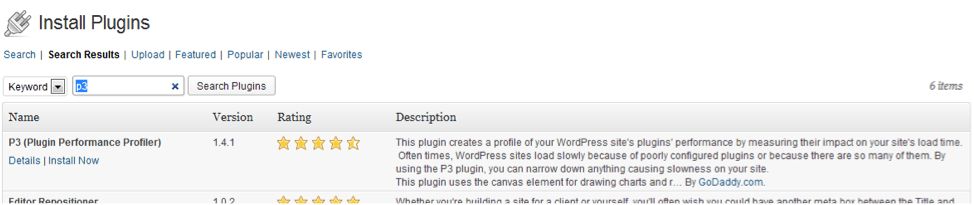 Result of the Install in WordPress
