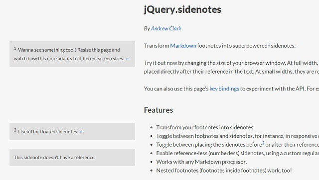 jQuery Sidenotes