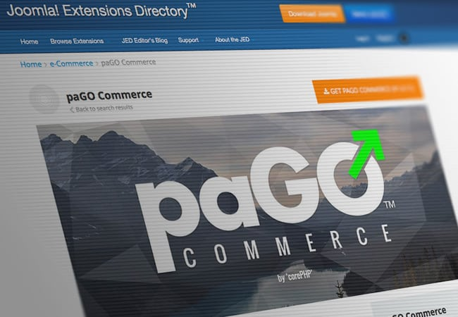 paGO Commerce listed on the Joomla Extensions Directory