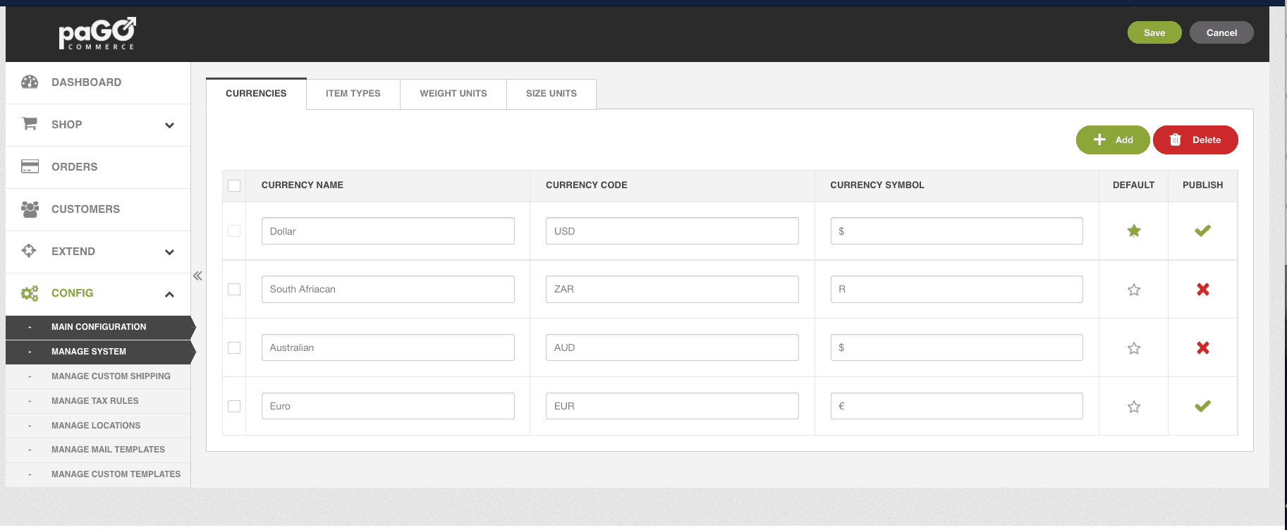 easy currencies manager within paGO Commerce