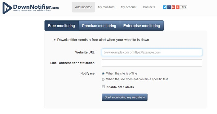downnotifier a website monitoring service for uptime and downtime