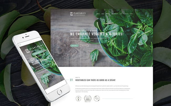 Vegetarian Restaurant WordPress Theme