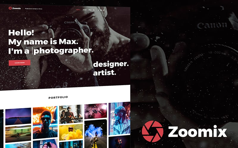 Zoomix Photographers Portfolio Photo Gallery WordPress Theme