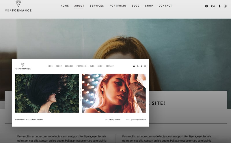 Performance Portraits Photography WordPress Theme
