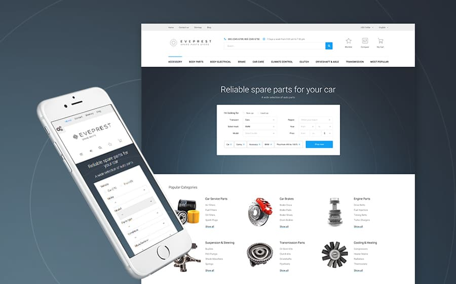Eveprest - Spare Parts PrestaShop Theme