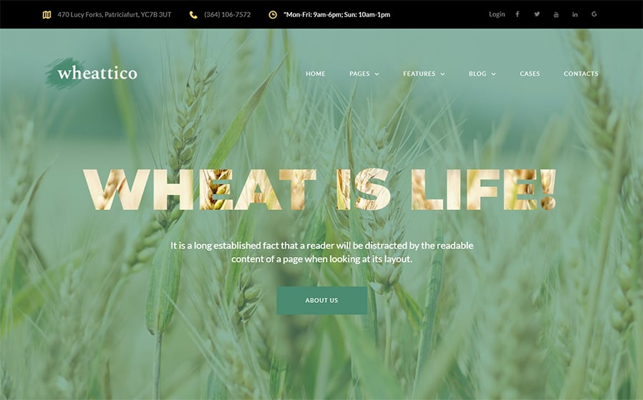 Wheattico - Crop Farm Responsive WordPress Theme
